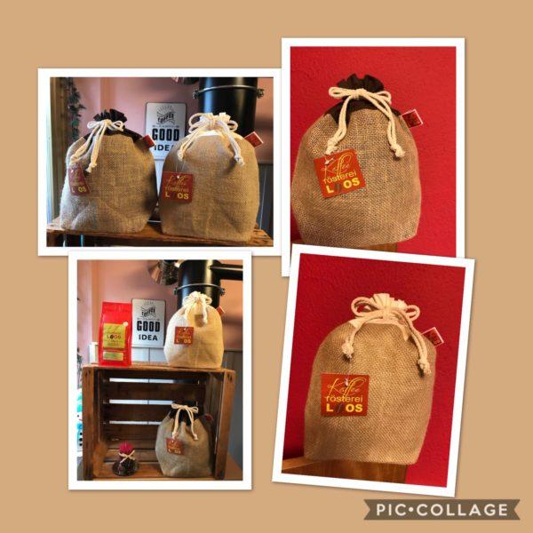 Jutesäckchen mit beigem oder braunem Futter